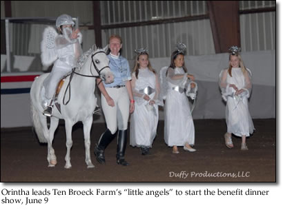 "Orintha leads Ten Broeck Farm's ""little angels"" to start the benefit dinner show, June 9"