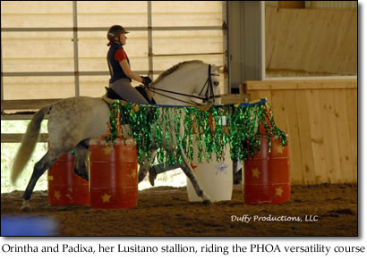 Orintha and Padixa, her Lusitano stallion, riding the PHOA versatility course